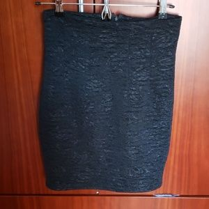 Hop woo vintage black textured pencil skirt